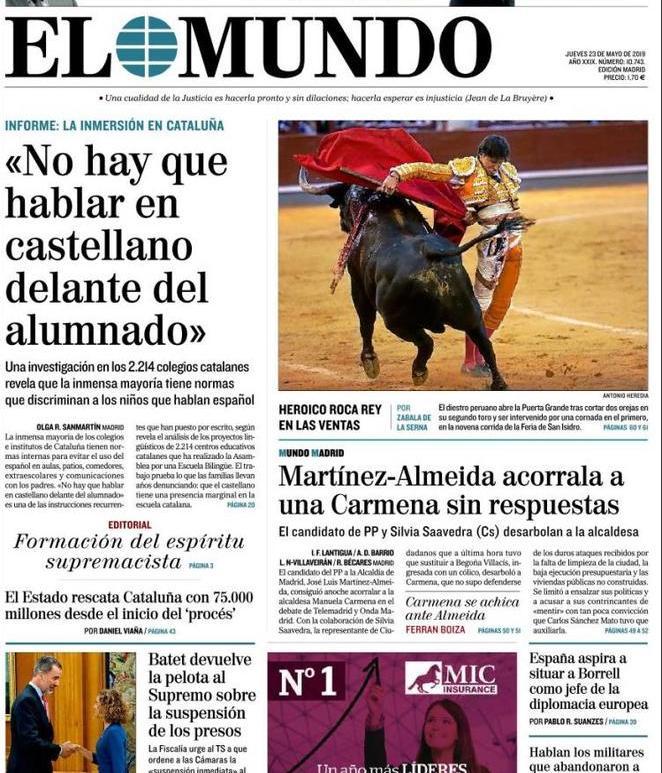 Rassegna delle prime pagine dei principali giornali esteri in edicola di oggi 23 maggio 2019