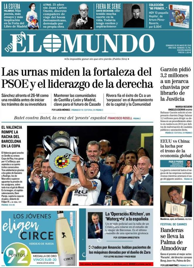 Rassegna delle prime pagine dei principali giornali esteri in edicola di oggi 25 maggio 2019