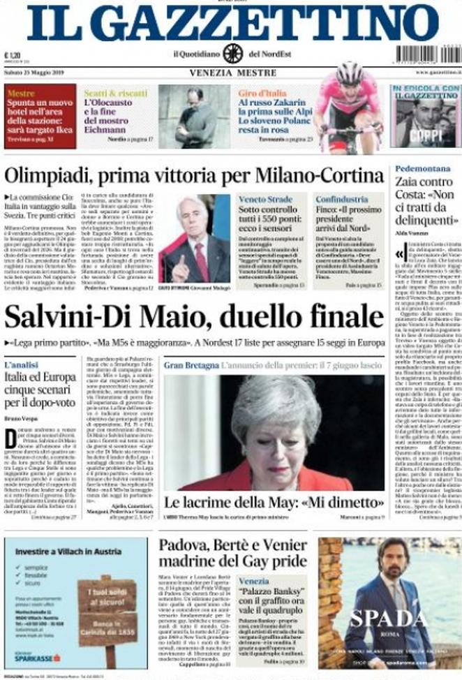 25 maggio: prime pagine Italia